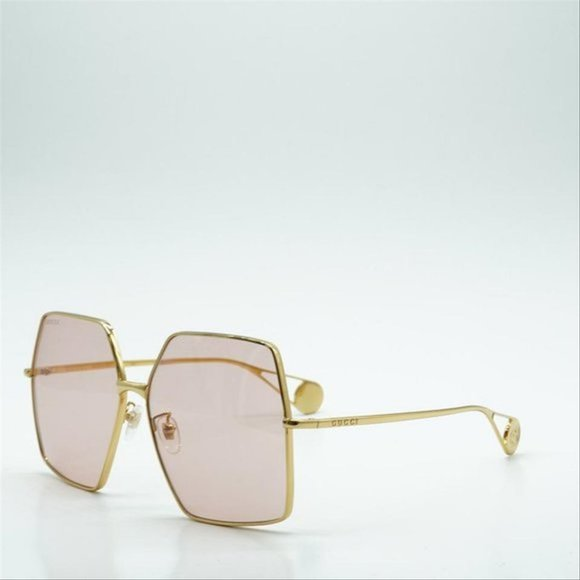 gucci pink rectangular ladies gg0536s00561 sunglas